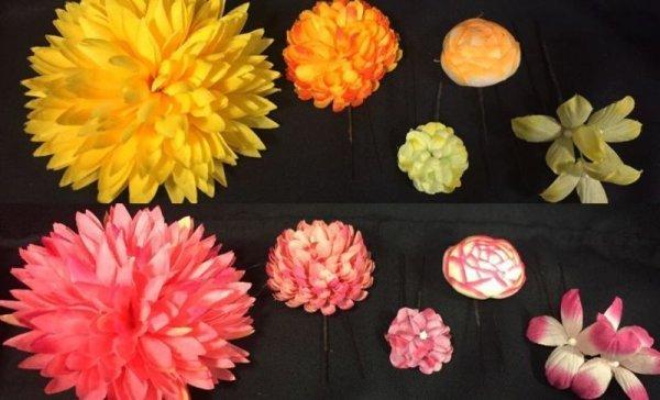 画像1: 髪飾り(ピンク色、黄色) (1)